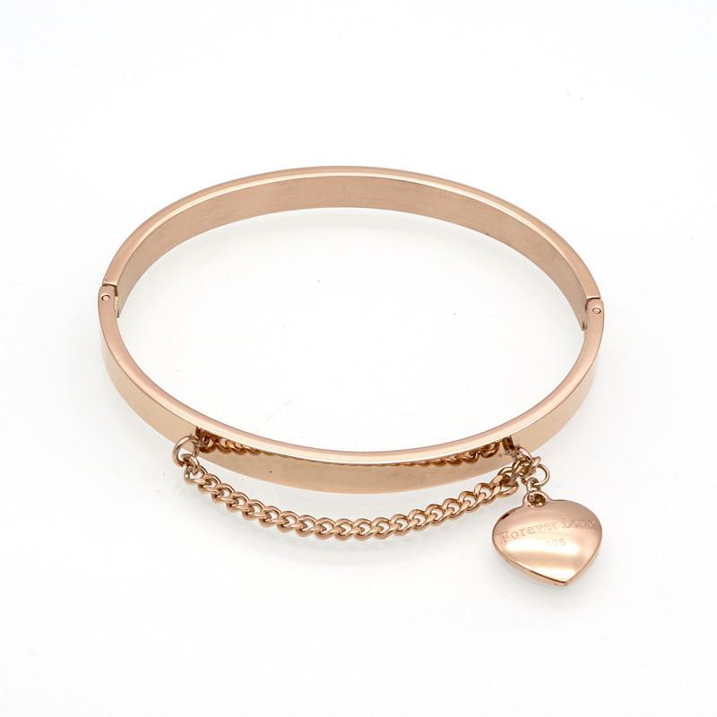 Hear Forever Lover Pendenti Bracciale in oro / argento Bracciale in acciaio inossidabile Bracciali da sposa Braccialetti Regalo di San Valentino