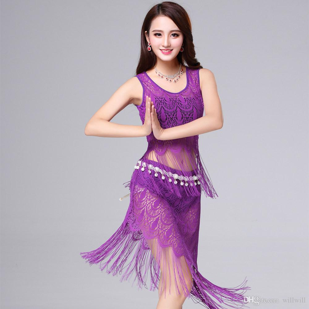 cc20c7b2a4e4 2019 Long Tassel Sexy Lace Dress For Women Perspective Costumes Girls Party  Bellydancing Costumes Set Top Skirt Belt Hot Bollywood Performance From  Willwill ...
