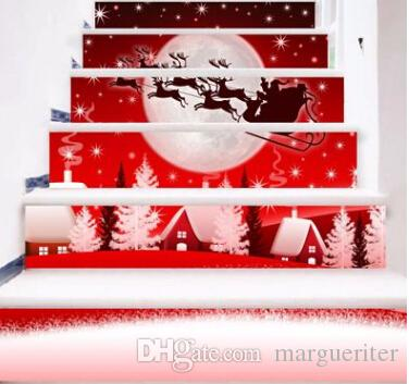 Christmas Deer Stairs Sticker Elk DIY 3D Stickers Creative Xmas Self Adhesive Wall Sticker Home Decoration