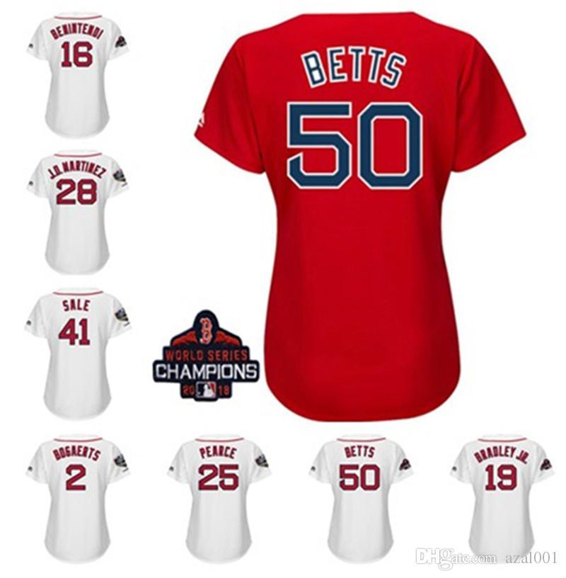 Womens Boston Red Sox 2018 World Series Champions Patch Mookie Betts Jackie  Andrew Benintendi Bradley Jr Steve Pearce Custom Baseball Jersey UK 2019  From ... 37ecf5488ed