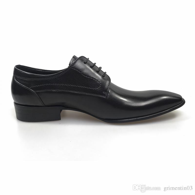 GRIMENTIN 2018 Hot sale oxfords wedding men dress shoes genuine leather black brown formal male shoes size:38-44 OX341