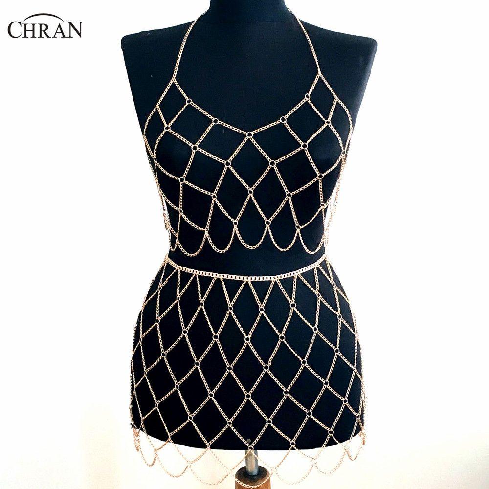 9ce373af38 2019 Wholesale Beach Chain Bra Skirt Harness Necklace Bikini Body Belly  Waist Chainmail Bralette Dress EDM Wear Festival Jewelry CRBJ912 From  Zheni