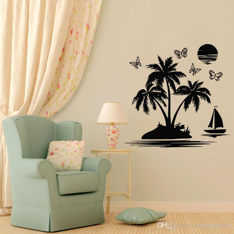 A Boat Butterflies Palm Tree Wall Stickers Home Decoration
