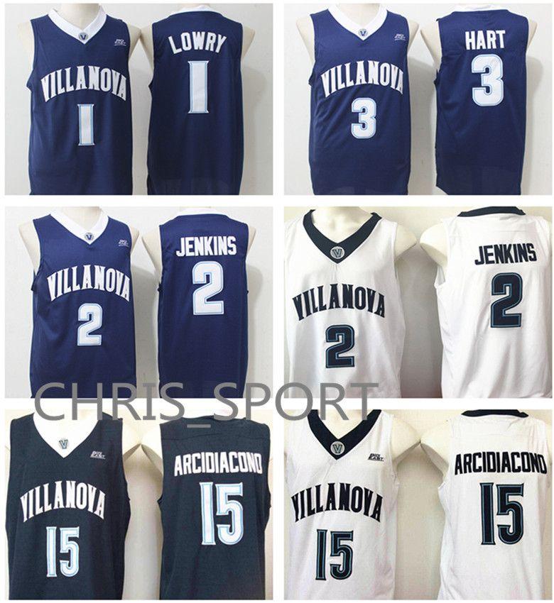 8f877543e478 2019 Villanova College Basketball Jerseys Wildcats Player 1 Kyle Lowry 2  Kris Jenkins 3 Josh Hart 15 Ryan Arcidiacono Navy Blue Game Uniform From ...