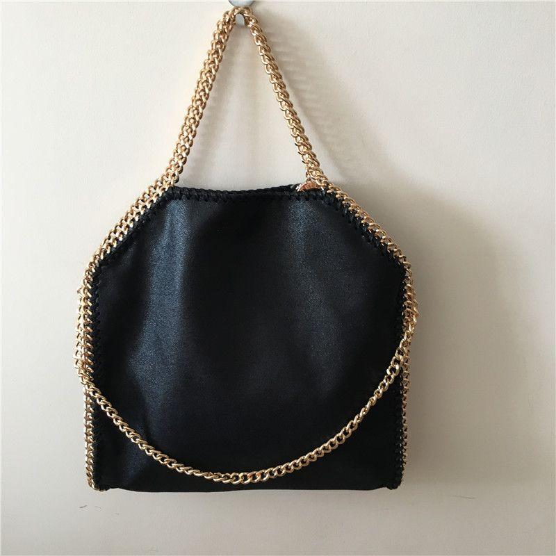 Luxury Black Golden Chain Falabella Stella Classical Fold-over 37CM ... d947415a4641d