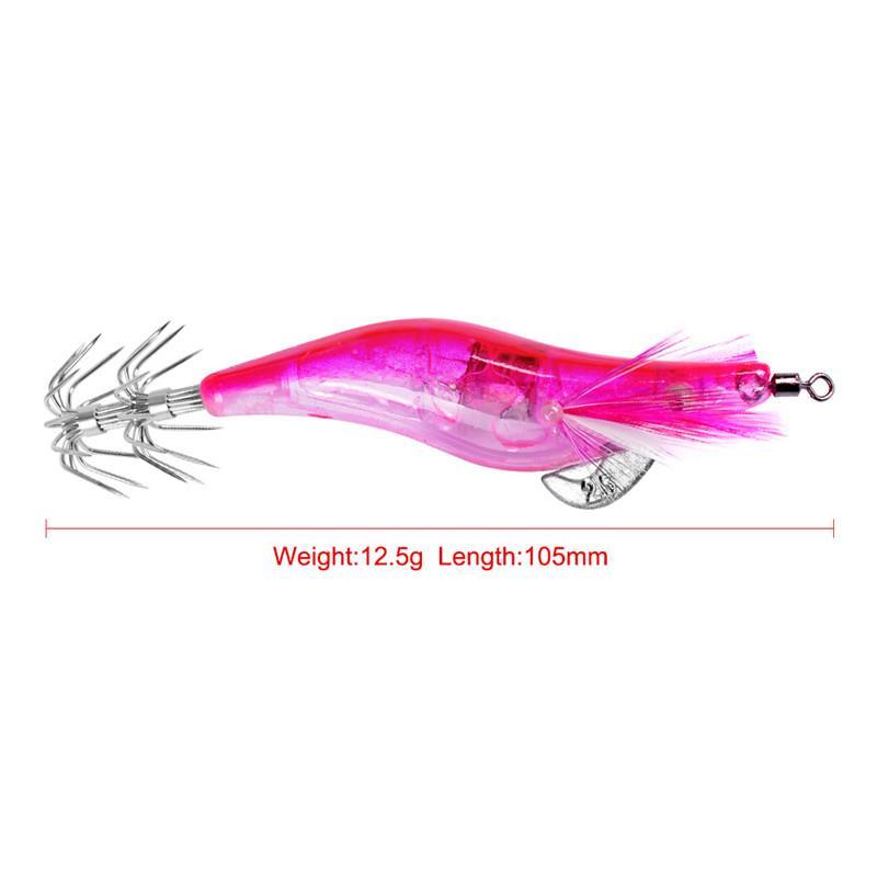 Chaude LED Clignotant Plastique Crevettes Calmar Appât artificiel 10.5 cm 12.5g Prawn Octopus Leurre de pêche crochets pour la nuit