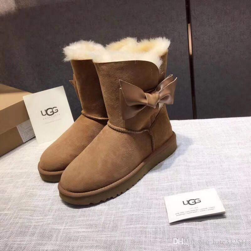 2c56b0d84a5 American luxury goods V@GG casual anti skiing boots ladies tube fur one  snow boots personality ribbon bow sheepskin Flock snow boots 35/40