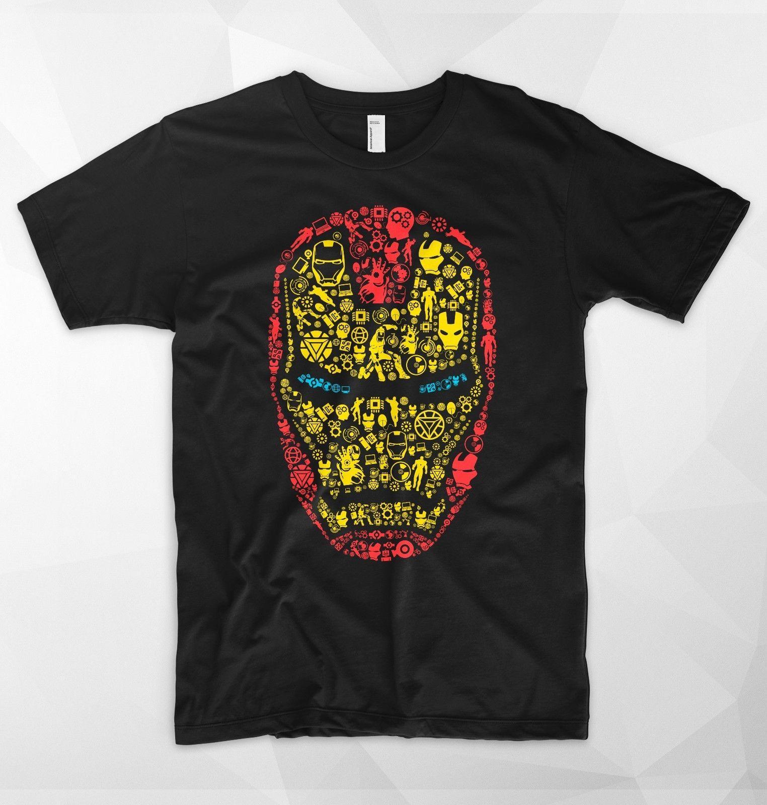 Compre Detalles Zu Iron Man Mask Camiseta Logo Head Tony Stark Marvel  Superhero Avengers Spiderman Funny A  12.96 Del Lukehappy13  5ed3f7d973876