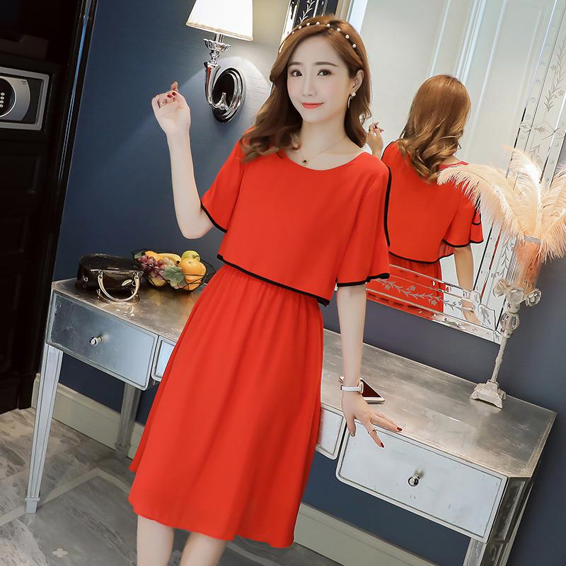 710655e874ca Shoulder Hole Chiffon Maternity Nursing Dress Elegant Summer Fashion ...