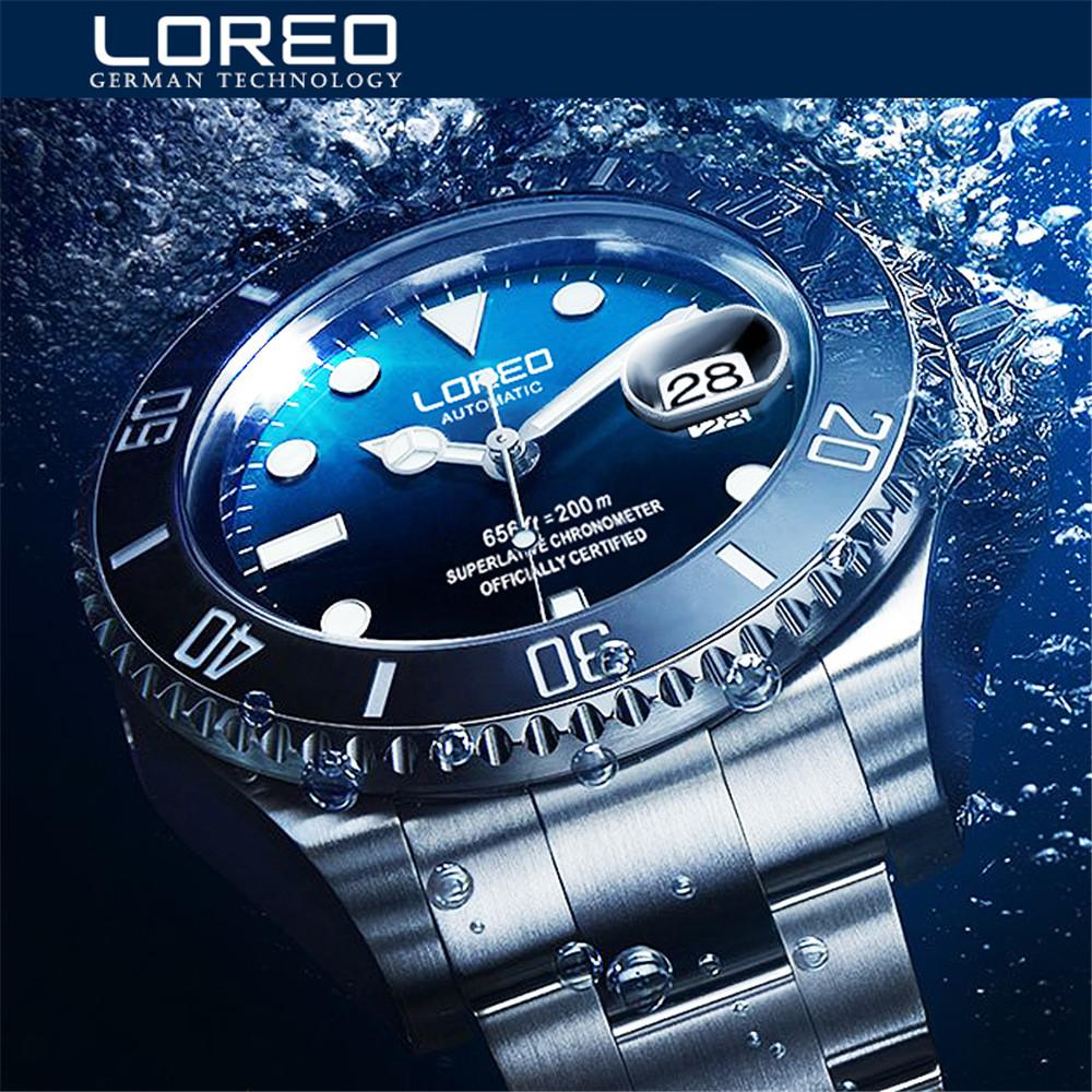 c5cec975730 New LOREO Water Ghost Series Classic Blue Dial Luxury Men Automatic Watches  Stainless Steel 200m Waterproof Mechanical Watch Discount Designer Watches  Watch ...