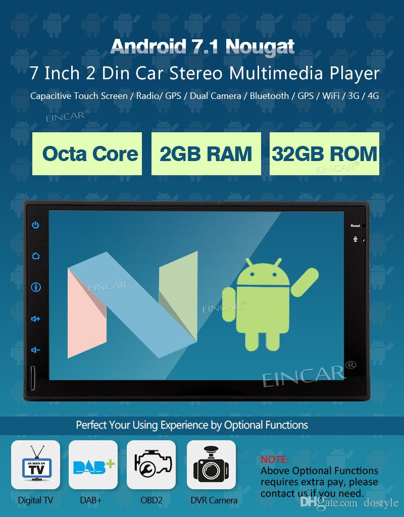 Cámara de copia de seguridad + 7 '' Reproductor de auto estéreo para auto con Android 7.1 Doble din Headunit dvd para automóvil Admite Naviagion, Bluetooth, enlace telefónico, AM FM RDS, USB