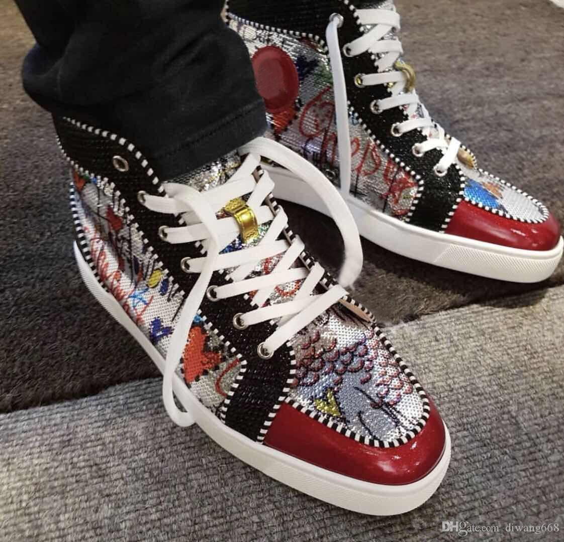 High Top Red Bottom Sneakers Glitter Graffiti Beads Outdoor Trainers Round  Toe Causal Walking Flat Outdoor Cool Streetwear Casual Shoes Casual Shoes  For Men ... 09bf931cefaa