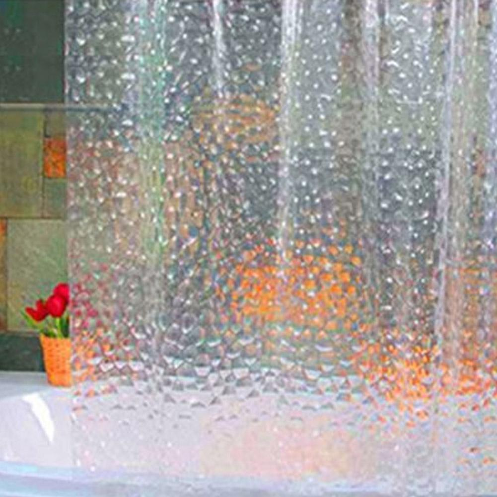 2019 72 Inch Shower Curtain Transparent 3D Water Cube Design Bathroom Waterproof EVA From Xuol 3932