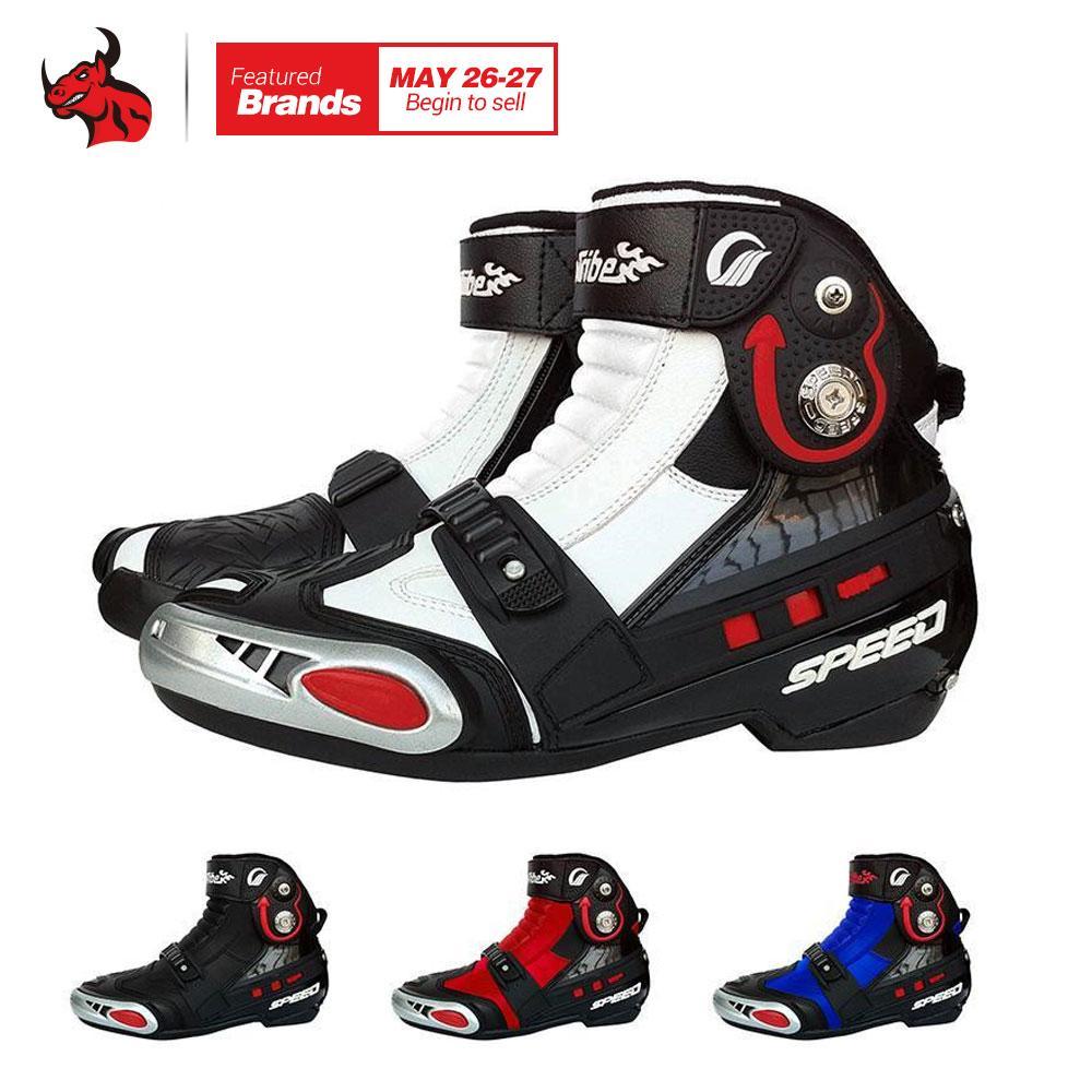 7ad110f8eb8 Compre Riding Tribe Botas Para Moto De Hombre Botas De Montar De Moto De  Cuero De PU Botas De Moto De Todoterreno Motocross A  122.07 Del Pubao