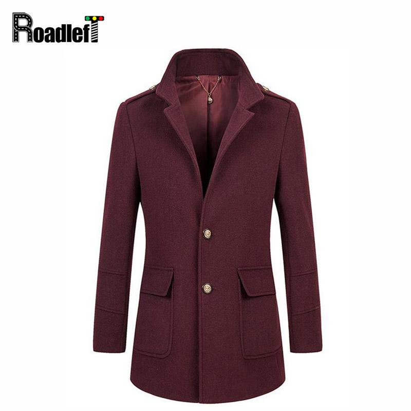 4cc2928dba93 2019 2017 Winter Peacoat Wool Blends Suit Design Coats Mens Burgundy Casual  Trench Coat Slim Fit Single Breasted Jackets For Men From Lvyou09