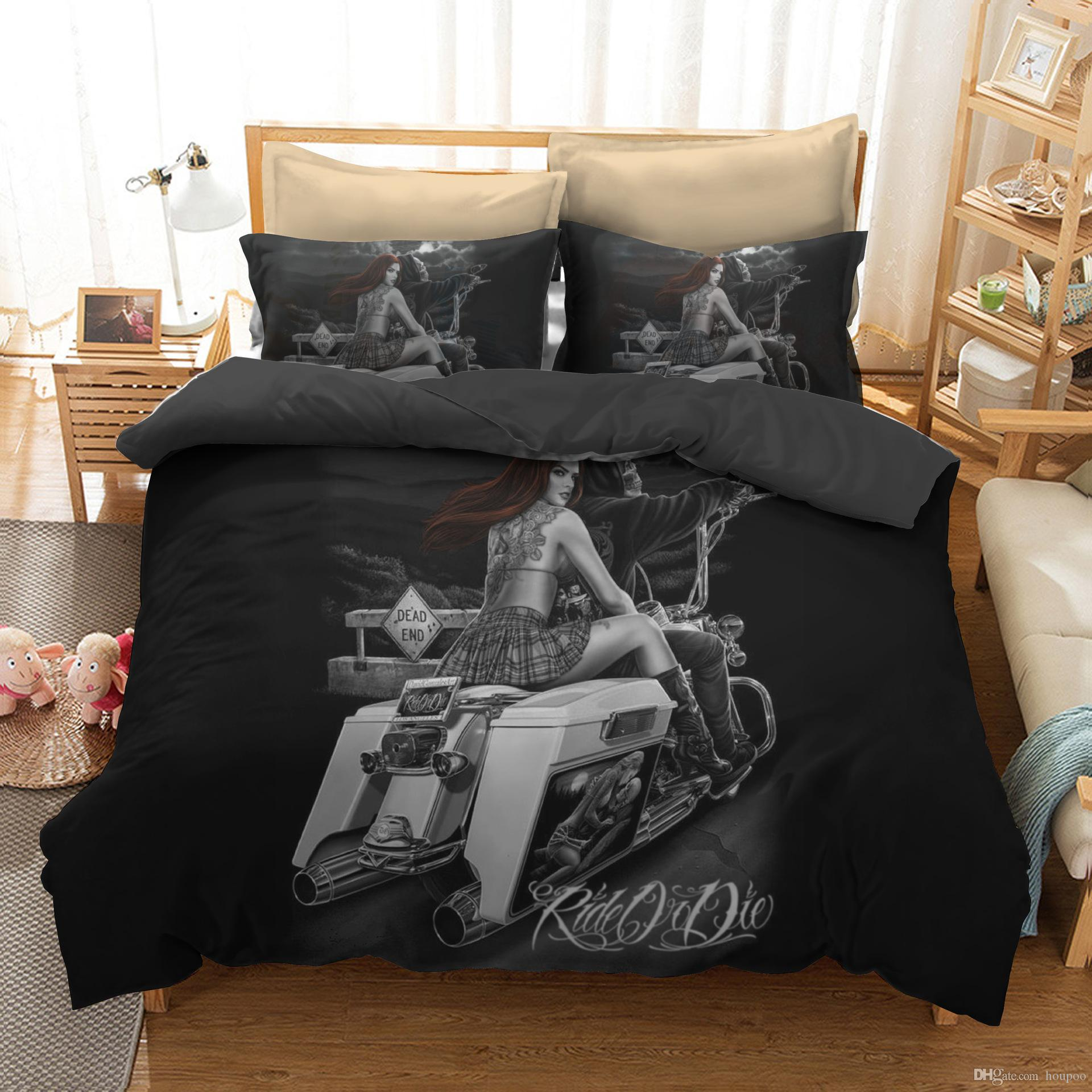 . Wholesale 6 Styles Skull Beauty 3D Printed Twin King Size Bedding Sets Bed  Sheets Queen Bedding Sets King Size Comforter Set