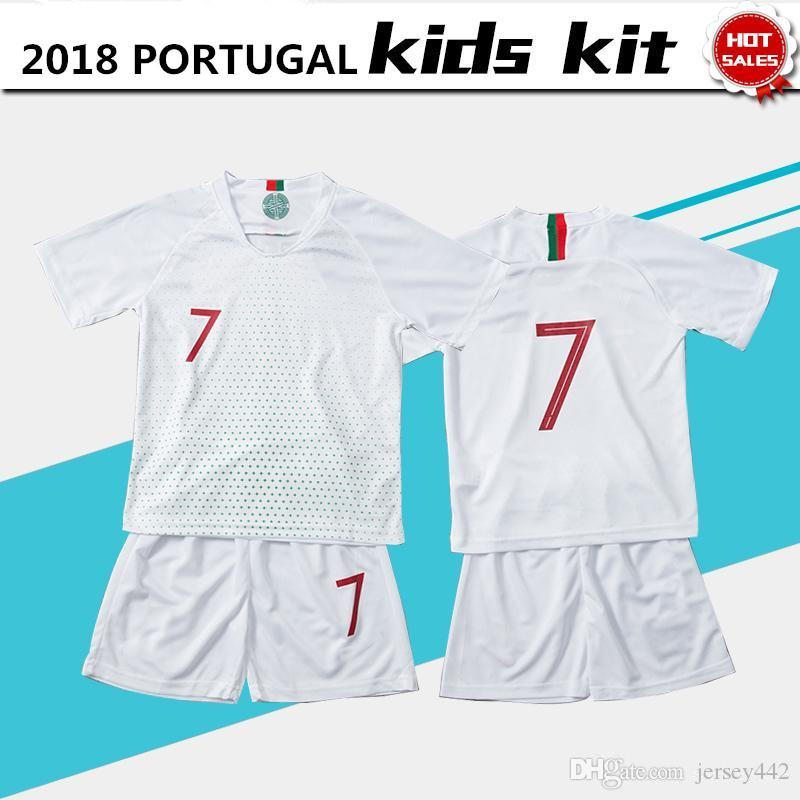 b83ca0a68fb 2019 2018 World Cup PEPE Soccer Jersey Kids Kit 2018 Portuguesa GUEDES Boy Away  White Football Shirt QUARESMA RONALDO Child Uniform With Shorts From ...