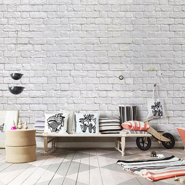 Acheter Bacaz Blanc Pierres 3d Briques Papier Peint Pour Murs Canape