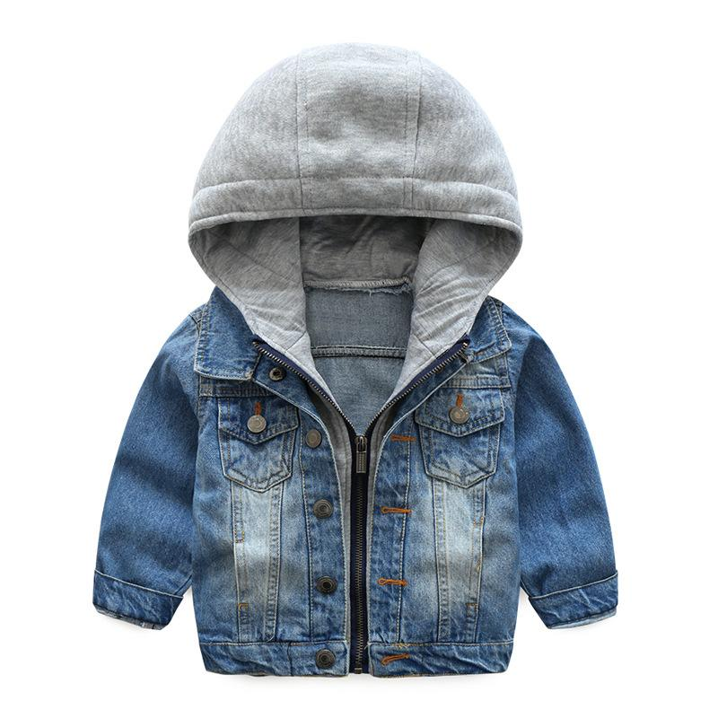 Baby Boys Coat 2018 New Spring Autumn Wash Soft Denim Coat Hooded Zipper Coat Jeans Jacket for Kids Children Clothing 6T