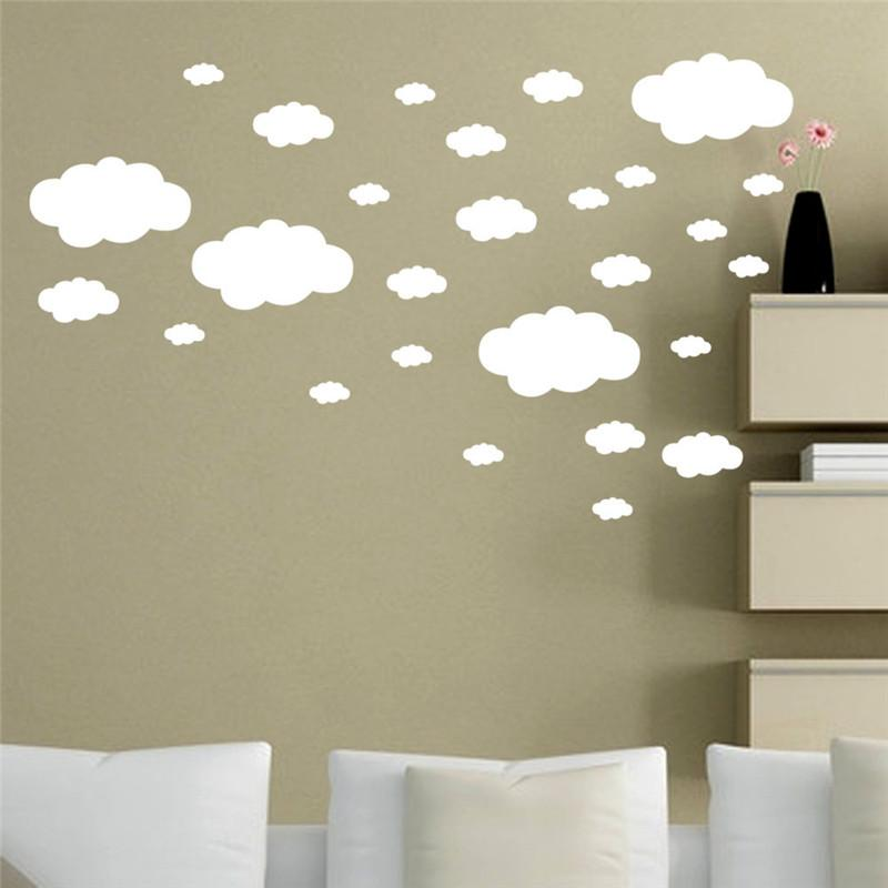 White Pvc Wall Sticker Diy Clouds Balloon Wall Decals Childrens