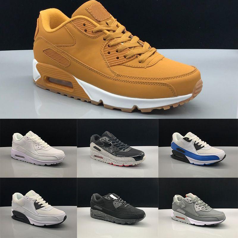 16c451fa9c4 2019 90 Men Women Running Shoes Core Triple Black White Wheat Red ...