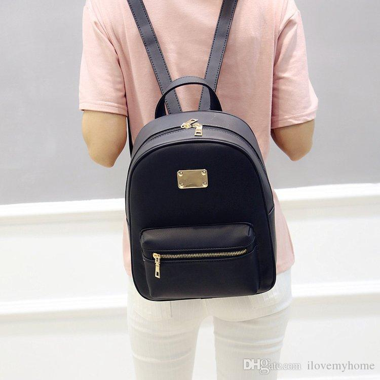 Women Backpack Small Size Black PU Leather Women S Backpacks Fashion School Girls  Bags Female Back Pack Famous Brand Mochilas Gregory Backpacks High School  ... 5bbcfc2d3042b