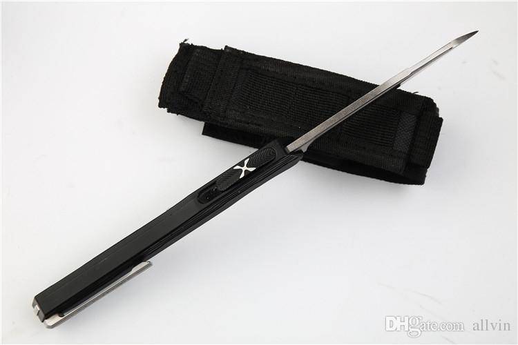 2018 новый дизайн авто тактический нож D2 Сатин лезвие CNC 7075 алюминиевая ручка TC4 Титана клип с нейлоновой сумкой