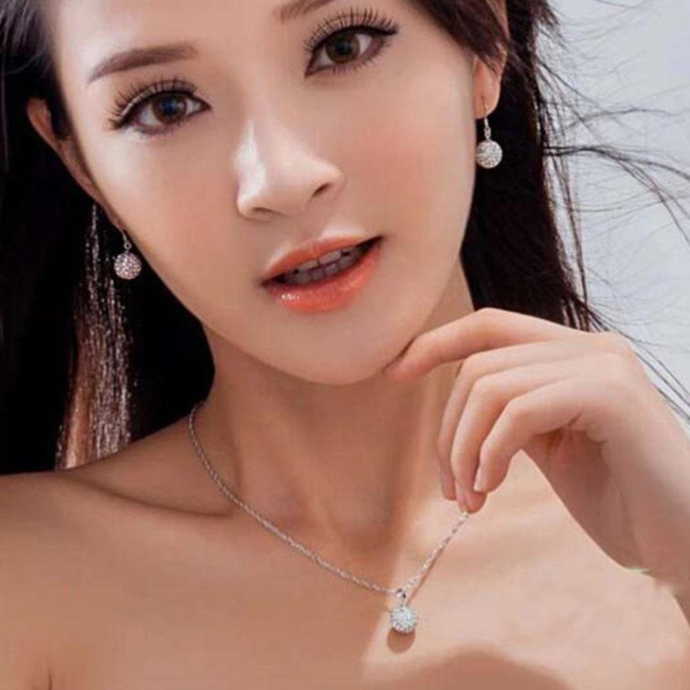 Chic Jewelry Set Women's Fashion White Ball Drop Earrings Necklace Pendant Shamballa Set For Women