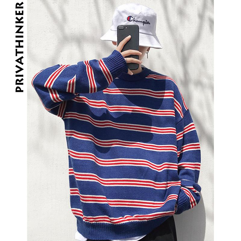 65da8e4878 2019 Man Striped Winter Sweaters 2018 Mens Blue Color Harajuku Pullover  Sweater Couple Korean Oversized Knitted Sweater From Cardigun