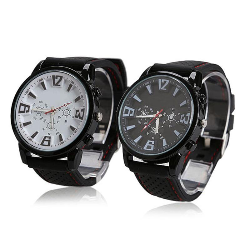 New Men's Watch Top  Rubber Strap Sports Watch Men Black White Wrist erkek kol saati reloj hombre