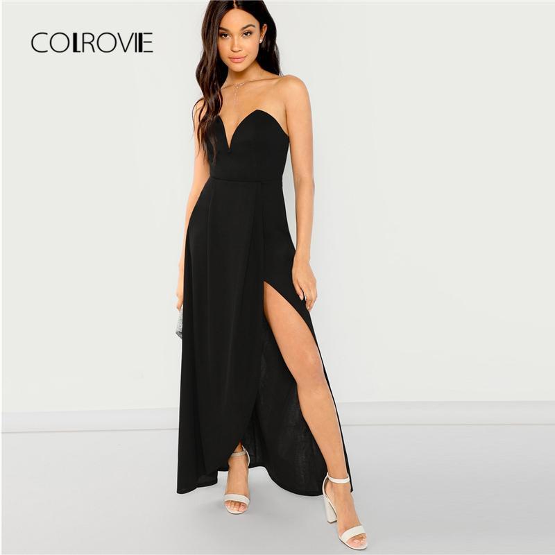 5f3b8682504 Acheter Colrovie Noir Solide Zip Up Slim Robe Sexy Féminine 2018 Automne  Robe De Soirée Sans Manches Fille Élégante Robes De Soirée Maxi De  33.51  Du ...