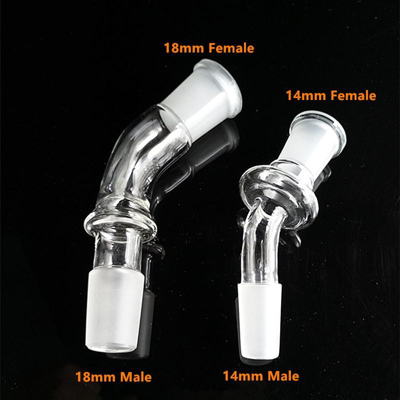 Adattatore in vetro piegato a 45 gradi Adattatore in vetro da 14 mm o 18 mm con adattatore cupola in vetro con raccordo maschio 14,5 mm, 18,8 mm spedizione gratuita