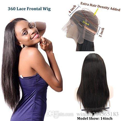 Mechas 360 peruca frontal virgem peruana com clips Glueless cor natural linha reta cabelo crespo natural com cabelo do bebê