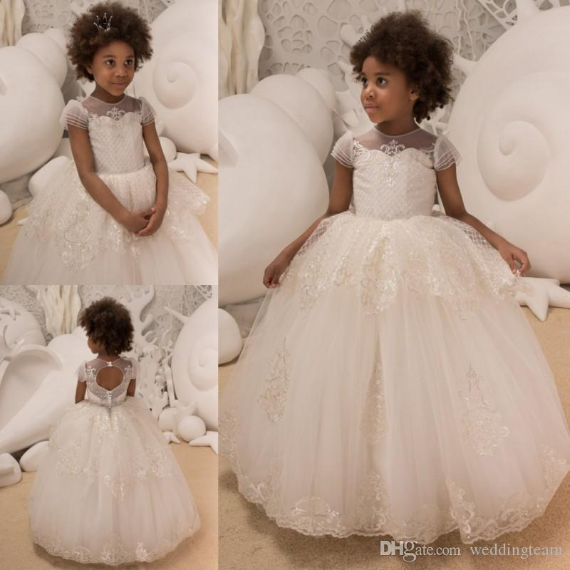 82d99eda994 Chic Lace Appliqued Ball Gown Flower Girls Dresses For Wedding Sequined  Toddler Pageant Gowns Floor Length Tulle Kids Prom Dress Quinceanera Dresses  White ...