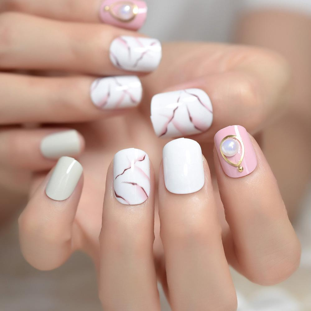 Short Square Fake Nails White Marble Press On Nails Custom With 3d