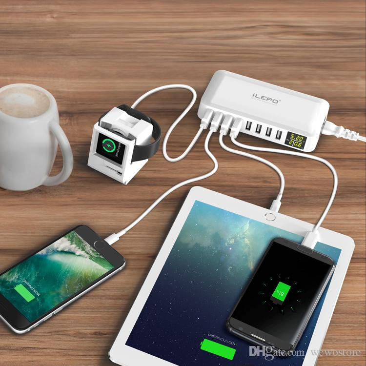 iLepo Universal USB Travel Charger With 8 Ports LCD Display Smart Portable Adapter Wall Charger 8A For iPhone X 8 Cell Phone Retail Box