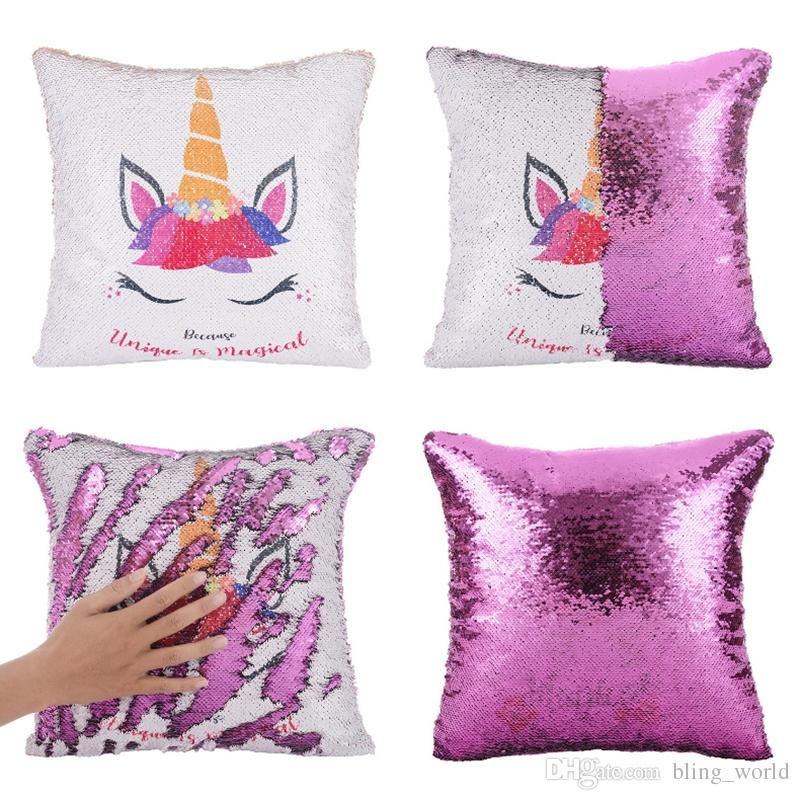 Compre Unicornio Fundas De Almohada Lentejuelas Throw Pillow Case ...