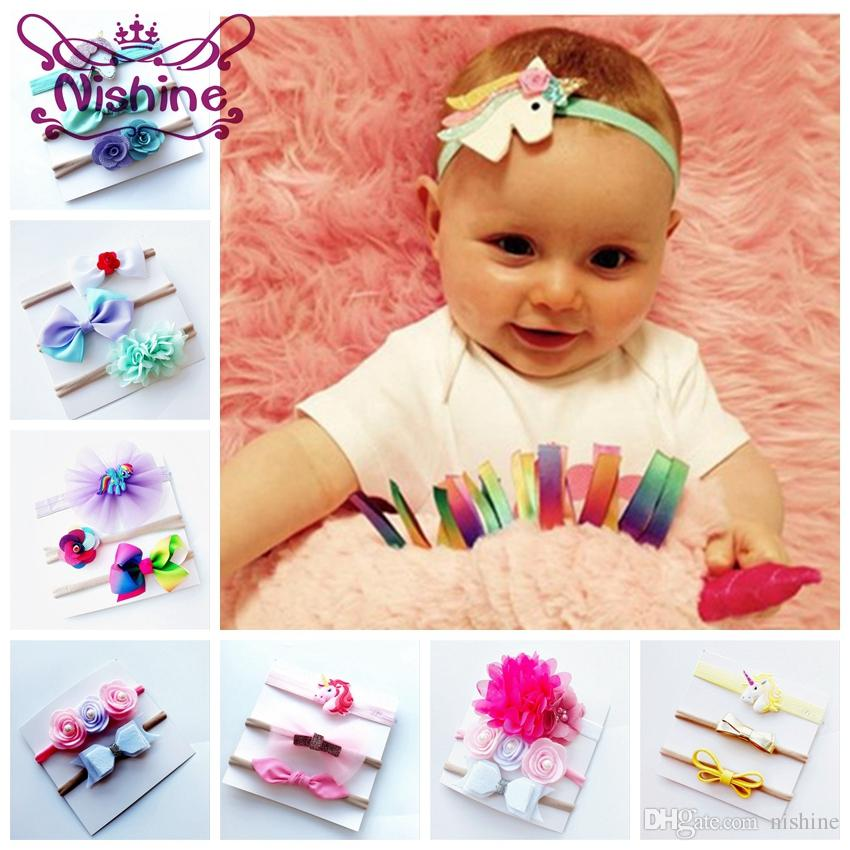 Nishine Baby Unicorn Headband Ribbon Hair Bow Nylon Girls Hairbands Unicorn  Headwear Set Birthday Gifts Party Supplies Canada 2019 From Nishine c31af42b4b9