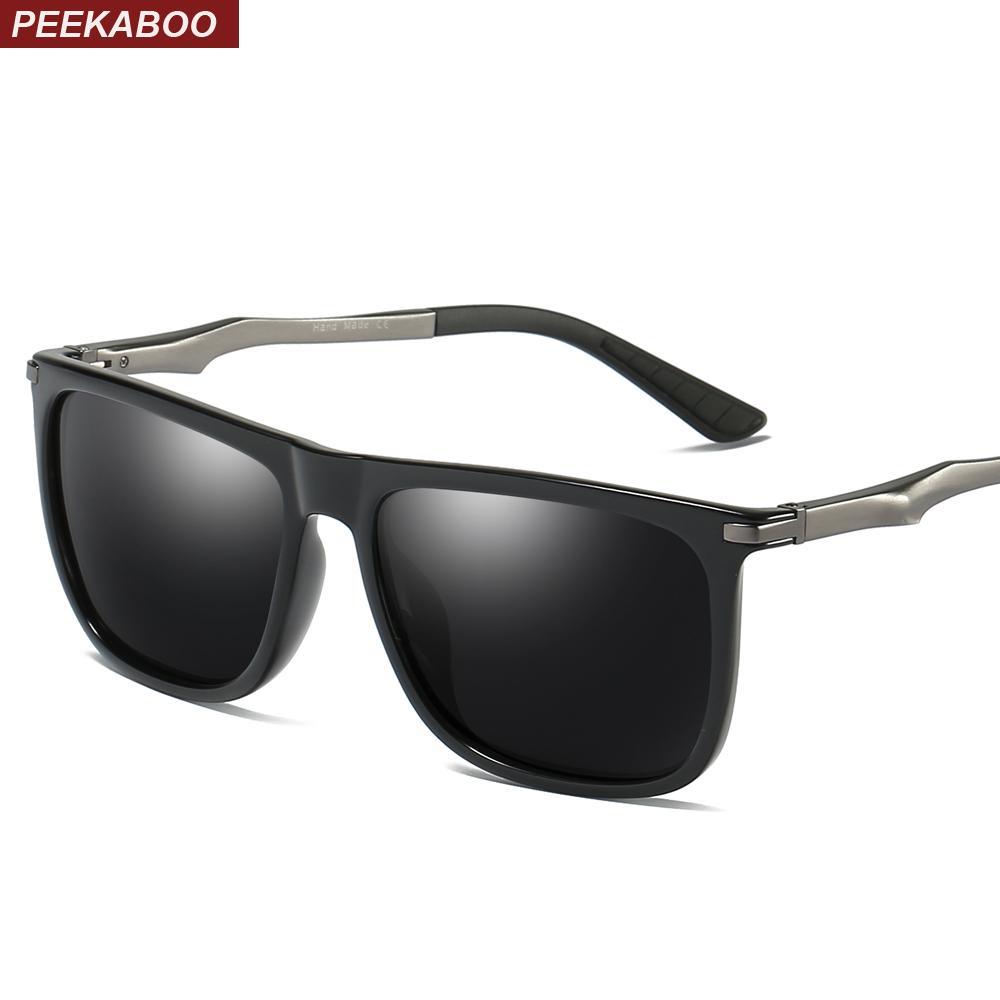 fb7aa478b9 Compre Peekaboo Gafas De Sol Polarizadas Rectangulares De Alta Calidad Para  Hombres Que Conducen Medio Metal Negro Azul Gafas De Sol Para Hombres ...