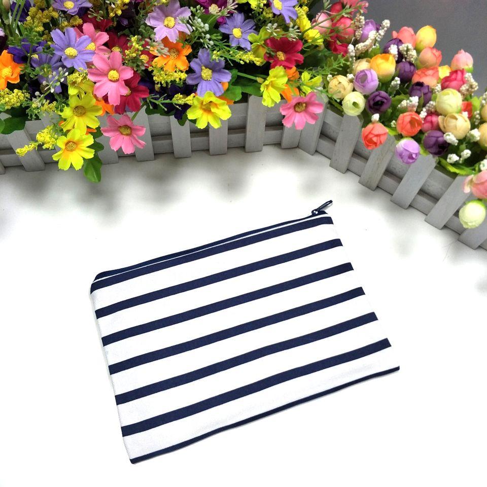 / porte-monnaie rayé noir / bleu marine avec zip 6 * 9in pochette zippée en toile rayée