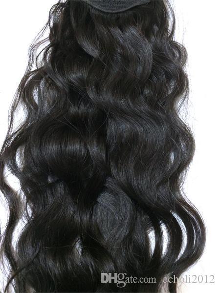 Easy Ponytail Hairstyles Clip en cola de caballo humana Pieza de pelo largo rizado Cordón cola de caballo postizo Virgen rizada cola de caballo 120g