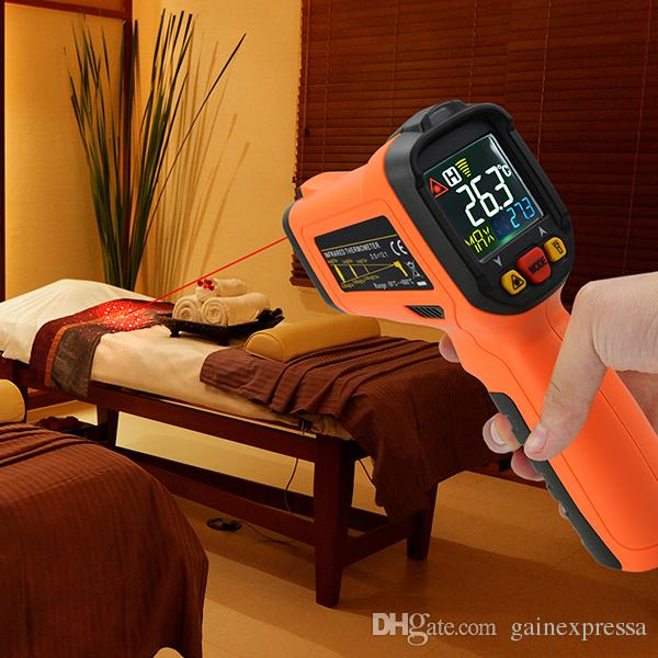 THE-222 Non-contact Infrared IR Laser Thermometer K-Type Thermocouple -50~800°C / -58~1472°F, Color Digital Display Hand Held
