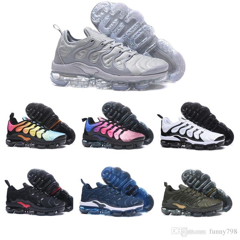 new style e76e9 a38f5 Acquista Nike Air Max Vapormax TN PLUS Air TN Plus Uomo Scarpe Da Corsa Da  Donna Olive Bianco Argento Nero Colorways Pack Triple Nero Scarpe Da  Ginnastica ...