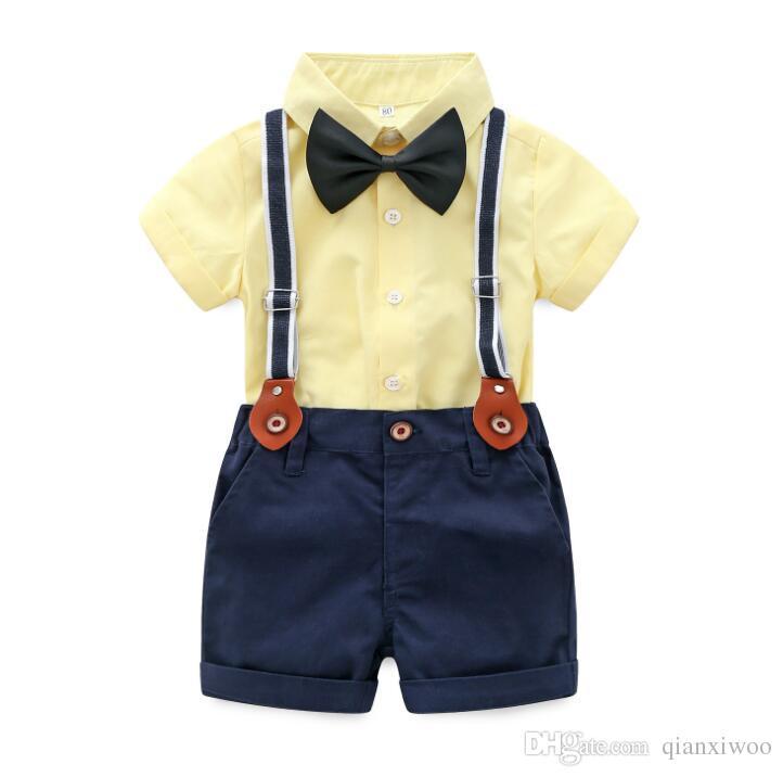 Yeni Yaz Bebek Boys Set Gengleman Çocuk Papyon Kısa Kollu Gömlek + Askı Şort 2 adet Erkek Giysileri Takım Çocuk Kıyafetler W176