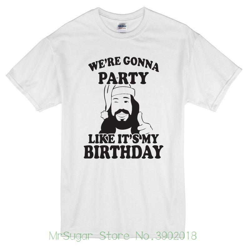 Chistmas Jesus Party Like ItS My Birthday T Shirt White Xmas Tee For Men O Neck Tops Male Designers Funny Print Shirts From Mrsugarstore