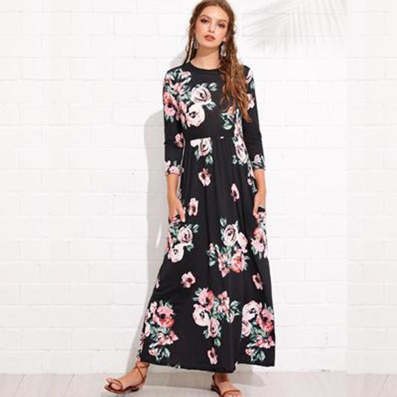 4c6e26b2de4 2019 2018 Summer Long Dress Floral Print Boho Beach Dress Tunic Maxi Women  Evening Party Sundress Vestidos De Festa 5XL From Vineger
