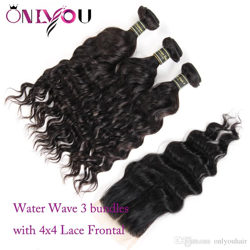 Malaysian Human Hair Weave Closure Water Wave Hair Bundles with Closure Black Color Wet and Wavy Natural Wave Hair Extensions Factory Deal