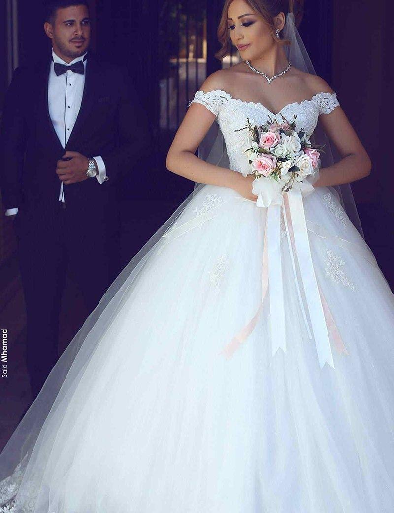 Dubai Arabian Lace Wedding Dresses Free Veil petticoat Ball Gown Sweetheart Off the Shouler Puffy Skirt Sweep Train Brdal Dress