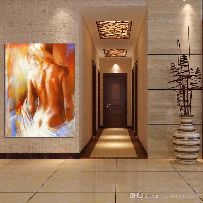El Boyalı Seksi Çıplak Yağlıboya Modern Soyut Tuval Duvar Sanatı Ev Dekor El Yapımı Çıplak Kadın Resim Sergisi Resim