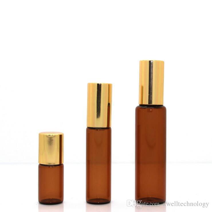 3 Uçucu Yağ Silindir Şişeleri 2.5 ml 5 ml 10 ml Amber Cam Şişe Rulo Topları Uçucu Yağlar Için Şişeler Üzerinde Ekstra Paslanmaz Çelik Rolle